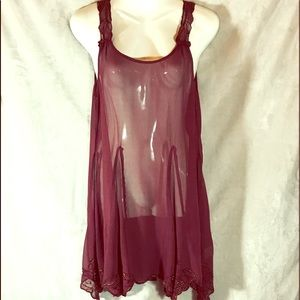 Free People Sheer Burgundy Slip Dress, Small
